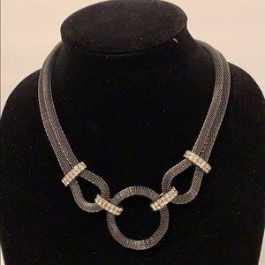 Dark Metal Grey Mesh and Crystal Necklace